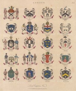 City Livery Arms: 20 Arms of Livery companies including the Farriers and Loriners.