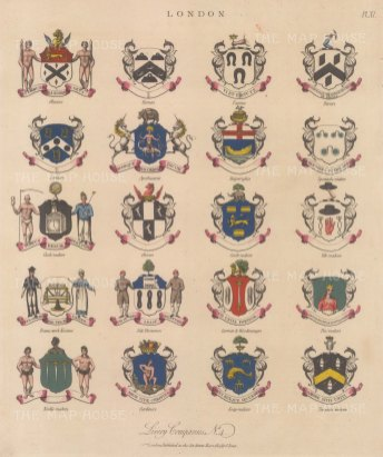 City Livery Arms. 20 Arms of Livery companies including the Farriers and Loriners.