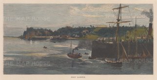 "Picturesque Australia: Darwin. 1886. A hand coloured original antique wood engraving. 11"" x 5"". [AUSp593]"
