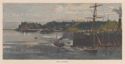 "Picturesque Australia: Darwin. 1886. A hand coloured original antique wood engraving. 11"" x 5"". [AUSp593]"