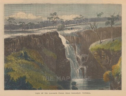 "Brown: Lal-Lall Falls, Victoria. 1885. A hand coloured original antique wood engraving. 8"" x 7"". [AUSp626]"