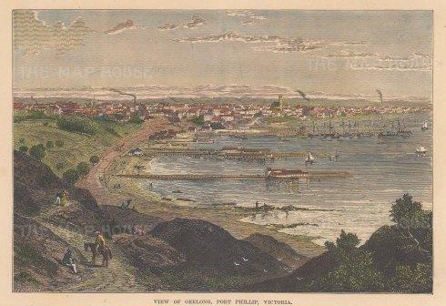 "Brown: Geelong, Port Phillip, Victoria. 1885. A hand coloured original antique wood engraving. 9"" x 7"". [AUSp658]"
