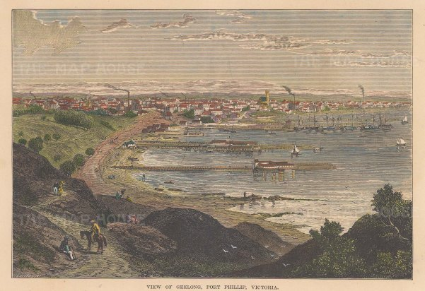 "Brown: Geelong, Port Phillip, Victoria. 1885. A hand coloured original antique wood engraving. 9"" x 7"". [AUSp658]"