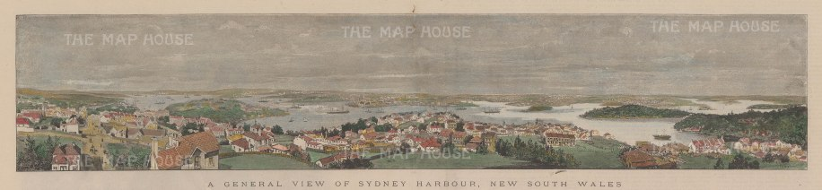 "Illustrated London News: Sydney Harbour. c1890. A hand coloured original antique wood engraving. 20"" x 5"". [AUSp660]"