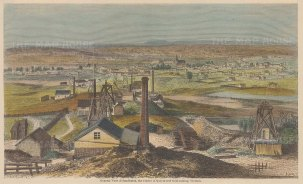 "ILN: Sandhurst, Victoria. c1855. A hand coloured original antique wood engraving. 9"" x 6"". [AUSp670]"