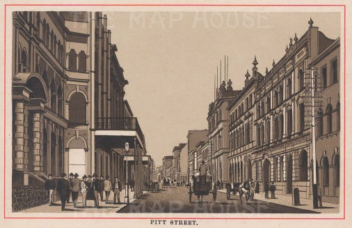 "Aonymous: Pitt Street, Sydney. c1910. An original antique photo-lithograph. 5"" x 3"". [AUSp682]"