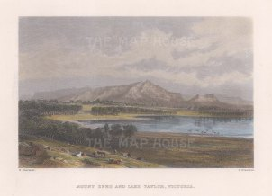 "Booth: Mount Zero & Lake Taylor. c1873. A hand coloured original antique steel engraving. 9"" x 7"". [AUSp689]"
