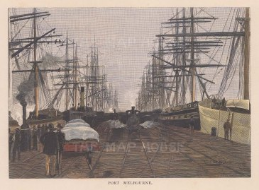 """Picturesque Australia: Melbourne Port. 1886. A hand coloured original antique wood engraving. 7"""" x 5"""". [AUSp697]"""