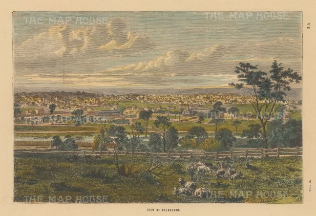"Collins: Melbourne. c1870. A hand coloured original antique wood engraving. 10"" x 7"". [AUSp708]"