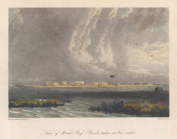 Wreck Reef Island: View of the bank at low tide. After William Westall, artist on HMS Investigator.
