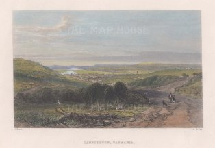 "Booth: Launceston, Tasmania. 1873. A hand coloured original antique steel engraving. 7"" x 5"". [AUSp743]"