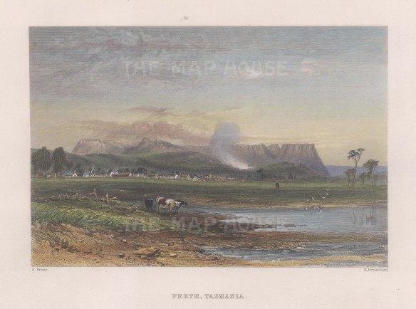"""Booth: Perth, Tasmania. 1873. A hand coloured original antique steel engraving. 7"""" x 5"""". [AUSp745]"""