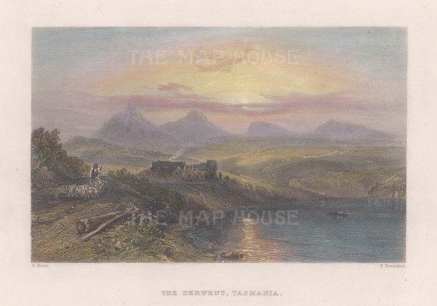 """Booth: Derwent, Tasmania. 1873. A hand coloured original antique steel engraving. 7"""" x 5"""". [AUSp746]"""