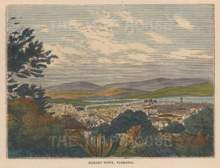 """Brown: Hobart Town, Tasmania. 1885. A hand coloured original antique wood engraving. 5"""" x 4"""". [AUSp748]"""