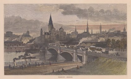 "Picturesque Australia: Prince's Bridge, Melbourne. 1886. A hand coloured original antique wood engraving. 10"" x 6"". [AUSp749]"