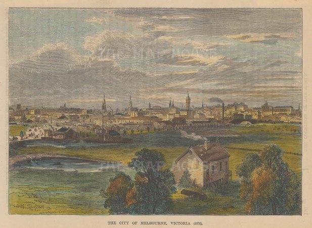 """Reclus: Melbourne. 1894. A hand coloured original antique wood engraving. 8"""" x 6"""". [AUSp753]"""