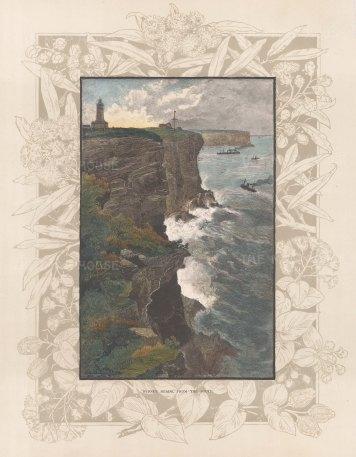 "Picturesque Australia: Sydney Heads. 1888. A hand coloured original antique wood engraving. 7"" x 11"". [AUSp762]"