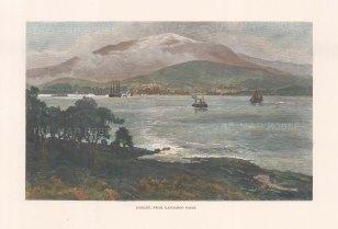 "Picturesque Australia: Hobart, Tasmania. 1888. A hand coloured original antique wood engraving. 11"" x 7"". [AUSp764]"