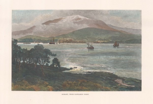 "Picturesque Australia: Hobart, Tasmania. 1888. A hand coloured original antique wood engraving. 11"" x 7"". [AUSp764]"