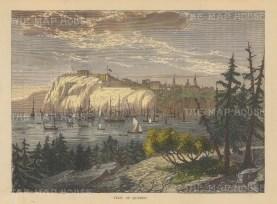 """Brown: Quebec. 1885. A hand coloured original antique wood engraving. 8"""" x 6"""". [CANp494]"""