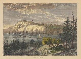 "Brown: Quebec. 1885. A hand coloured original antique wood engraving. 8"" x 6"". [CANp494]"