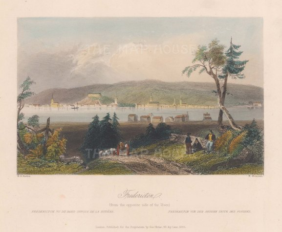 """Bartlett: Fredericton. 1842. A hand coloured original antique steel engraving. 8"""" x 7"""". [CANp580]"""