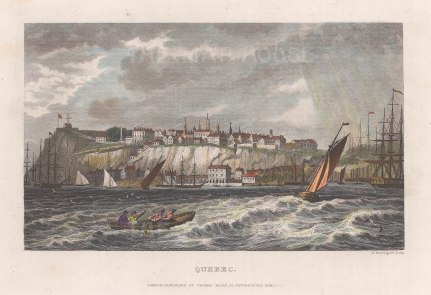 "Kelly: Quebec. c1840. A hand coloured original antique steel engraving. 7"" x 5"". [CANp587]"