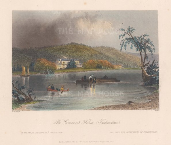 """Bartlett: Fredericton. 1840. A hand coloured original antique steel engraving. 8"""" x 7"""". [CANp591]"""