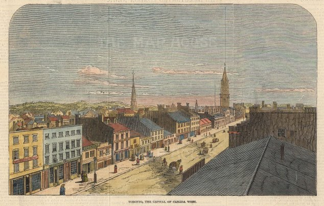 "Illustrated London News: Toronto. 1847. A hand coloured original antique wood engraving. 8"" x 6"". [CANp644]"