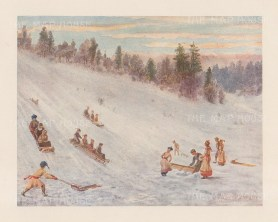 "Mover Martin: Tobogganing in Rosedale. 1907. An original antique chromolithograph. 6"" x 5"". [CANp663]"