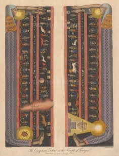 SOLD. Dendera: Temple of Hathor. Egyptian Zodiac from the ceiling of a shrine dedicated to the god Osiris in the temple of Hathor at Dendera. Renowned as the only complete map of an ancient sky.