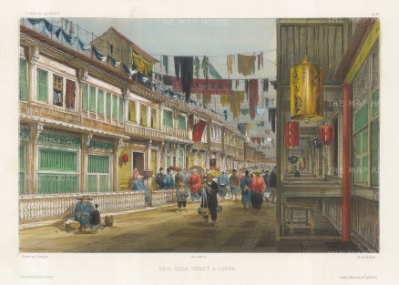 Canton: New-China Street. Lively street scene with lanterns in the foreground. After Barthélemy Lauvergne, one of the artists on the voyage of La Bonite, 1836-7.