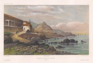 Guia Fortress. View of the convent, built between 1622 and 1638 atop a rocky outcrop. After Barthélemy Lauvergne, one of the artists on the voyage of La Bonite, 1836-7.