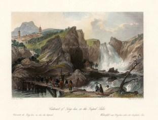 "Wright: Ting-hoo Cataract, Tripod Lake. 1847. A hand coloured original antique steel engraving. 7"" x 6"". [CHNp1087]"