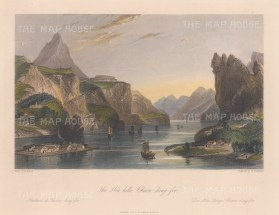 """Wright: Hea Hills, Chaou-king-foo. 1847. A hand coloured original antique steel engraving. 9"""" x 7"""". [CHNp1090]"""