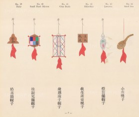 Chinese Pictorial Signs: Decorative signs for Dairy, Small Mirrors, Glass Beads, Midwifery, Lanterns and a Small Inn, highlighted with Gold.