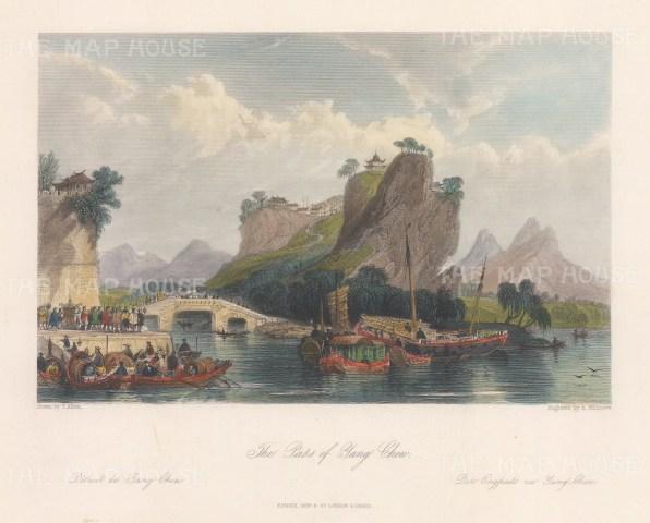 Yang-Chow: Pass on the Yangtze river towards the White pagoda and Five pavilion bridge.
