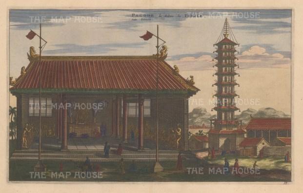 "Nieuhoff: Beijing (Peking). c1660. A hand coloured original antique copper engraving. 13"" x 9"". [CHNp818]"
