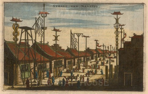"Nieuhoff: Nanjing. c1660. A hand coloured original antique copper engraving. 7"" x 5"". [CHNp932]"