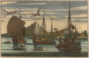 """Nieuhoff: Chinese ships. c1660. A hand coloured original antique copper engraving. 7"""" x 5"""". [CHNp937]"""