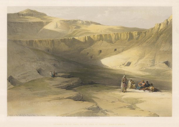 """Roberts: Valley of the Kings, Thebes. 1848. A hand coloured original antique lithograph. 20"""" x 14"""". [EGYp1072]"""