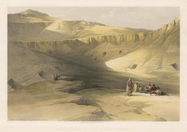 "Roberts: Valley of the Kings, Thebes. 1848. A hand coloured original antique lithograph. 20"" x 14"". [EGYp1072]"