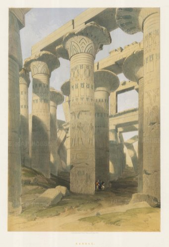 Karnak: Oblique view through the Hypostyle Hall. The reliefs on the columns detail the reigns and battles of Seti I and Ramesses II.