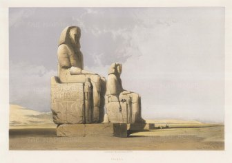 Colossi of Memnon: The northern statue depicts Amenhotep III with his mother Mutemwia, and the southern statue the pharaoh with his wife Tiy.