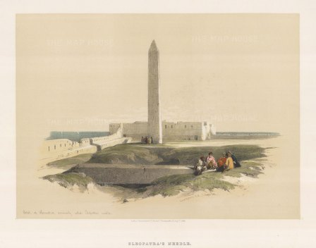 "Roberts: Cleopatra's Needle, Alexandria. 1846. A hand coloured original antique lithograph. 17"" x 13"". [EGYp711]"