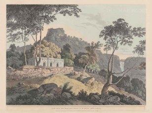 Bihar: Rohtasgarh Fort in the Kaimur Hills. View on the principal road.
