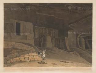 Kanheri Caves at Salsette: Part of the caves carved out by Buddhist monks, with the artist sketching in the foreground.