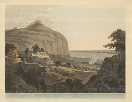 Bihar: Rohtasgarh Fort. North West view over the fort and the Kaimur Hills with the Harsichandra temple in the distance.