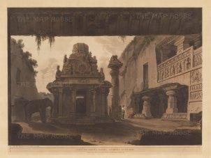 Maharashtra: Indra Sabha Jain Temple. Looking outward from the Ellora caves.