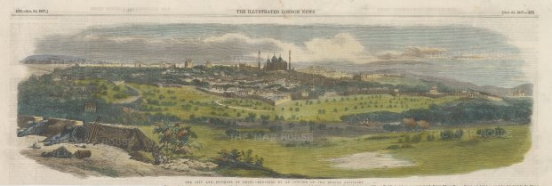 "Illustrated London News: Delhi. 1857. A hand coloured original antique wood engraving. 20"" x 6"". [INDp1421]"